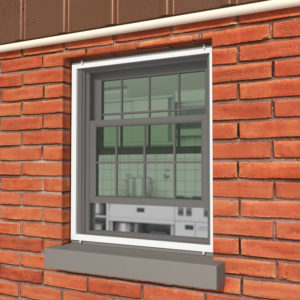 An image of a kitchen window protected by an exterior flyscreen mesh