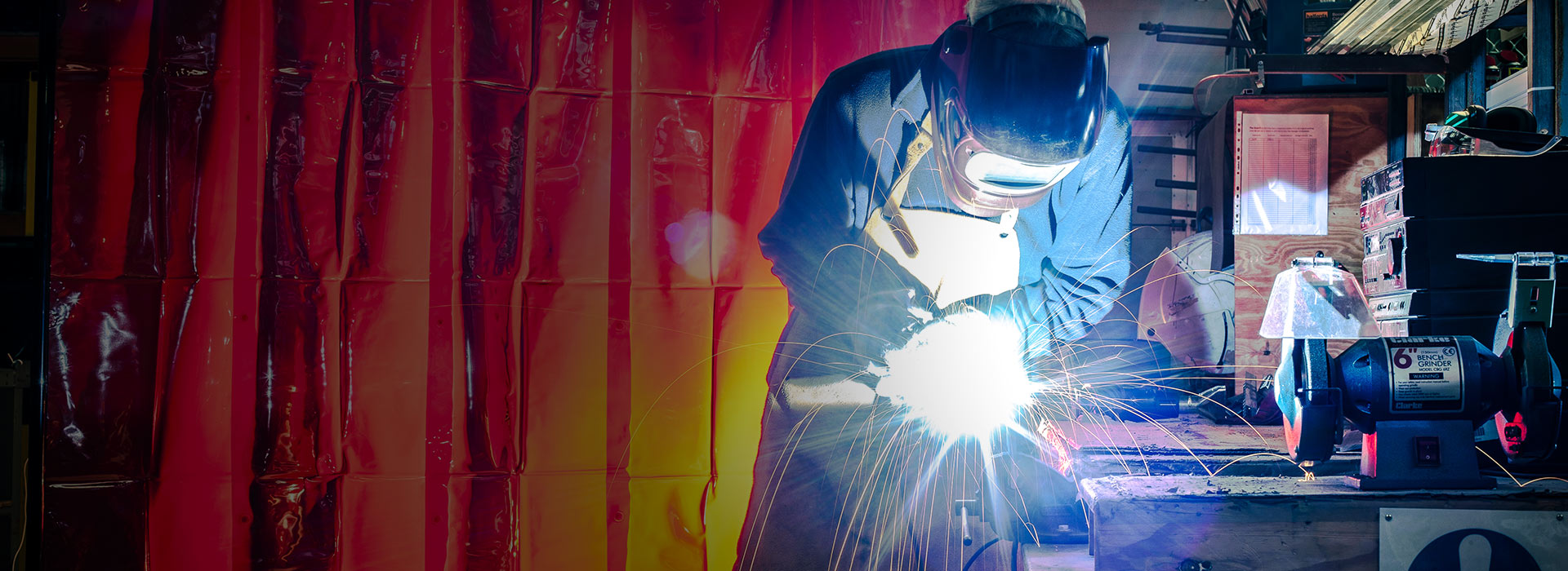 welder using a welding frame